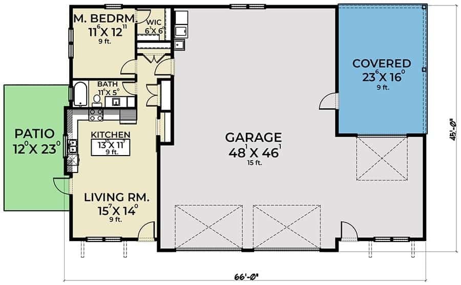 Entire floor plan of a single-story 1-bedroom carriage home with living room, kitchen, full bath, primary bedroom, and a three-car garage.