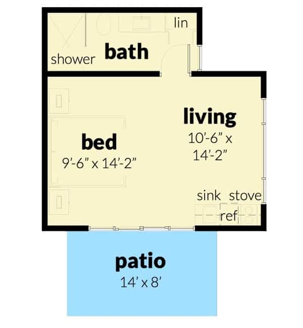 Entire floor plan of a single-story 1-bedroom studio-style tiny contemporary cottage with a living room, kitchen, bedroom, full bath, and a patio.