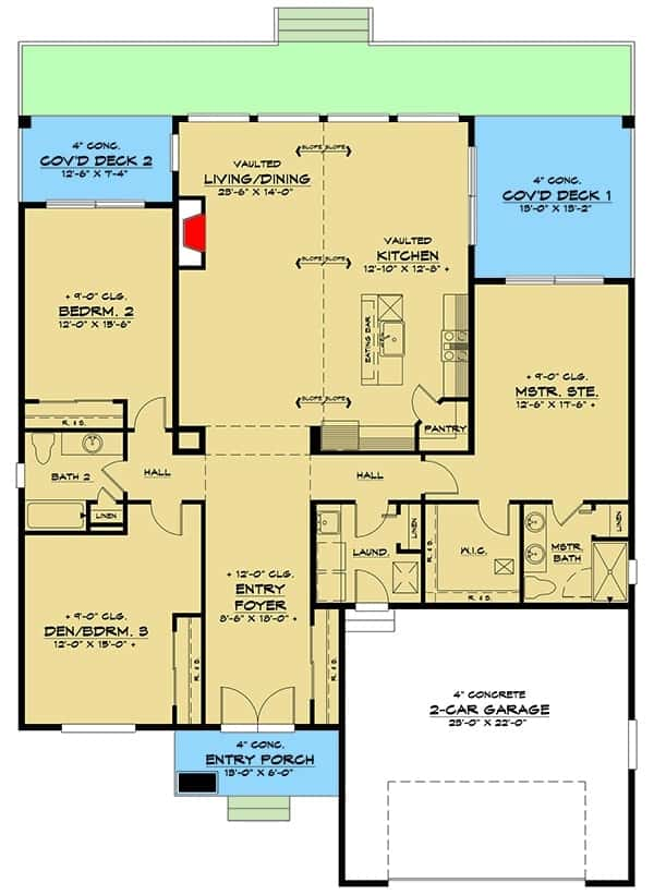 Main level floor plan of a single-story 3-bedroom modern ranch with foyer, living/dining, kitchen, laundry room that leads to the double garage, three bedrooms, and covered rear decks.