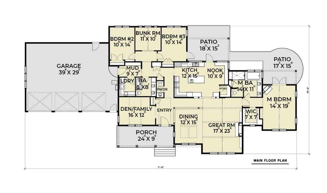 Entire floor plan of a single-story 4-bedroom cape cod style home with great room, den, formal dining room, kitchen with breakfast nook, three bedrooms, and a mudroom that leads to the three-bay garage.