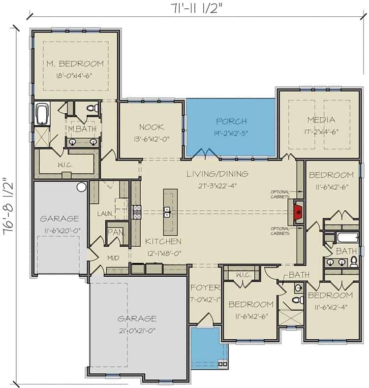 Entire floor plan of a single-story 4-bedroom New American ranch with foyer, living/dining room, kitchen with breakfast nook, media room, four bedrooms, and a rear covered porch.