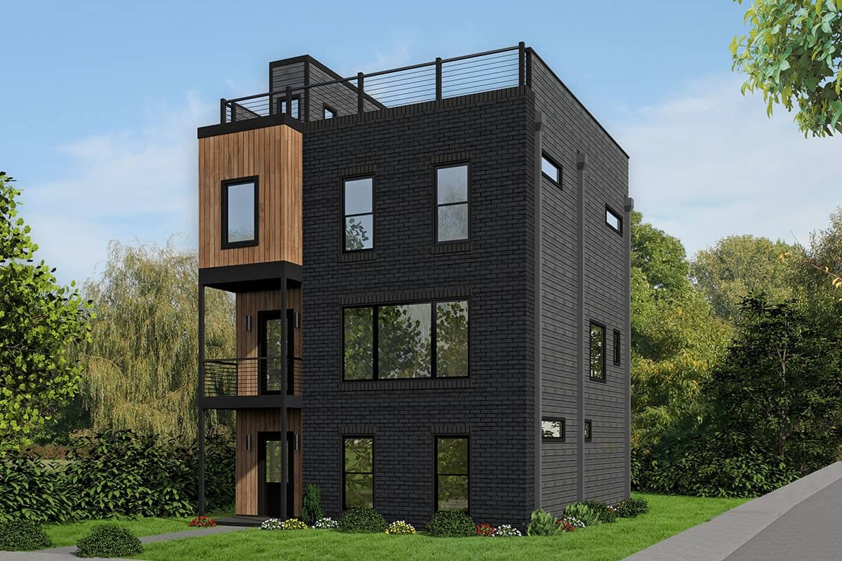 Four-Story 3-Bedroom Contemporary Home for a Narrow Lot with a Scenic Rooftop