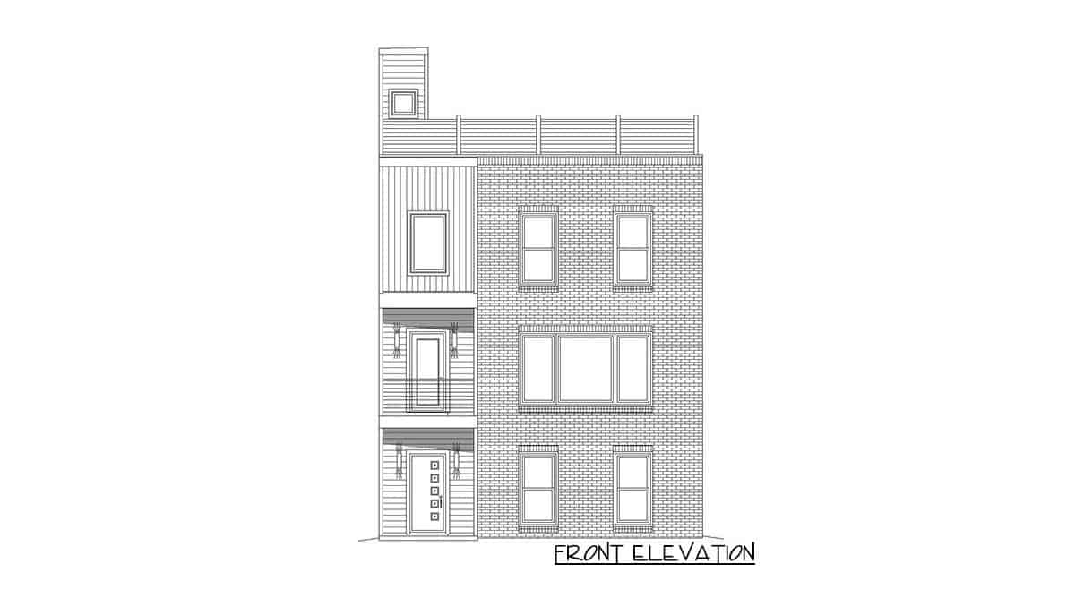 Front elevation sketch of the four-story 3-bedroom contemporary home.