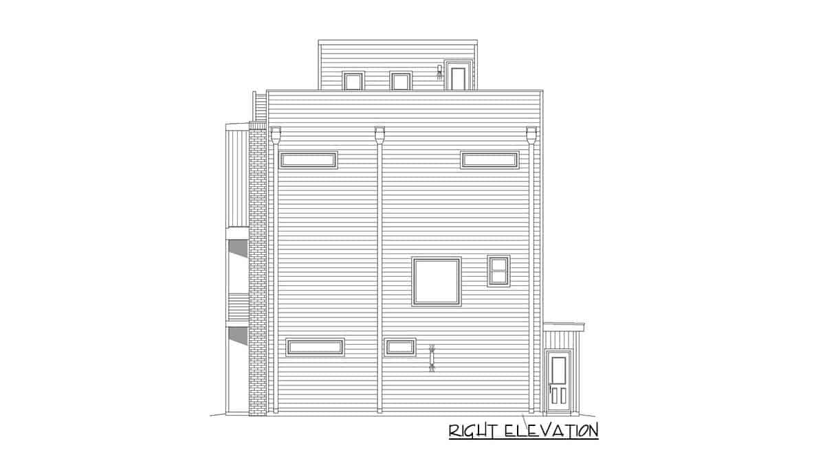 Right elevation sketch of the four-story 3-bedroom contemporary home.