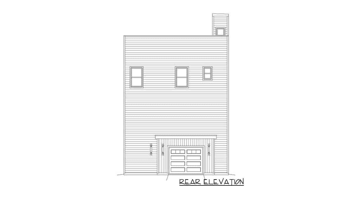 Rear elevation sketch of the four-story 3-bedroom contemporary home.
