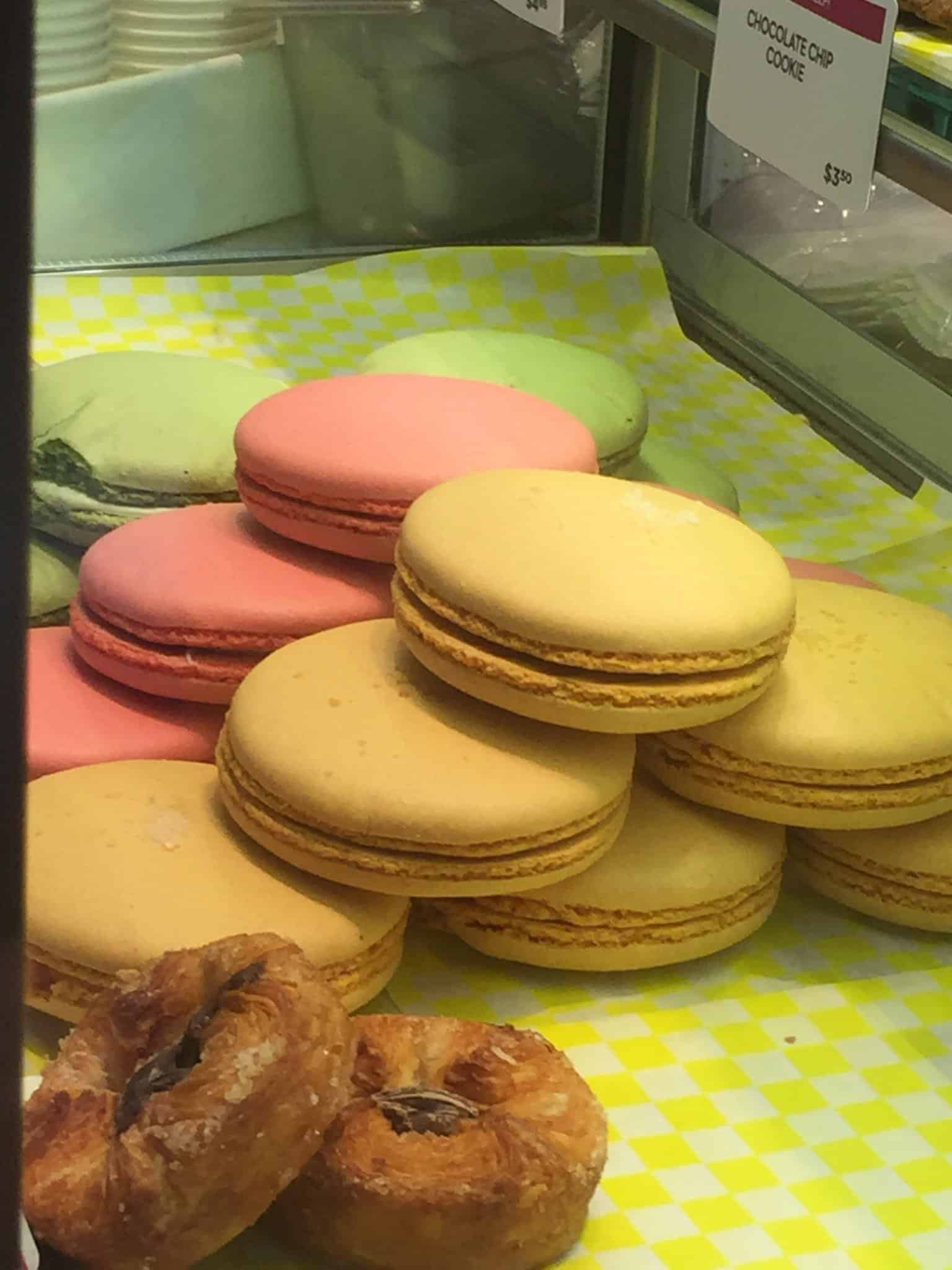 Pieces of macarons on display.