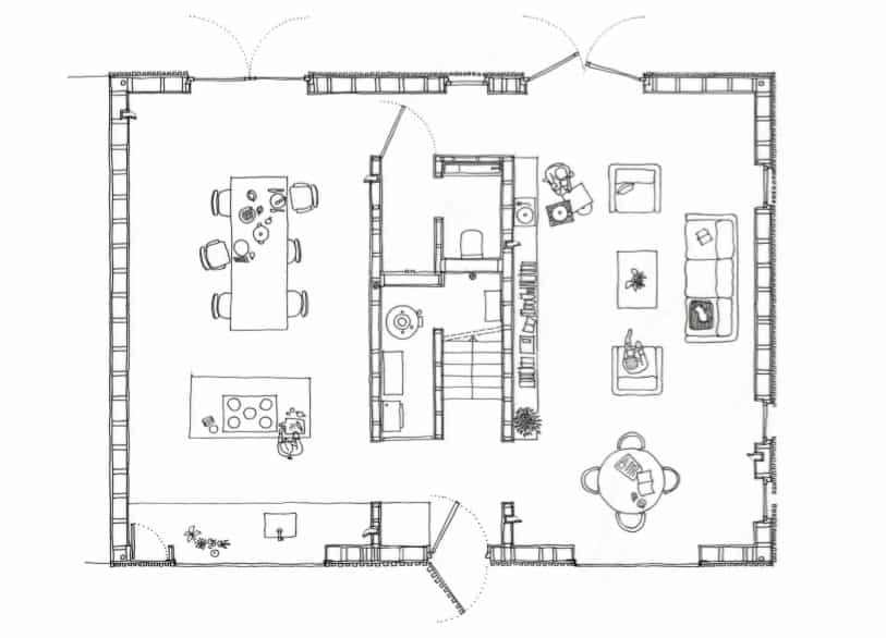 This is the illustration of the first level floor plan showcasing the various sections of the house.
