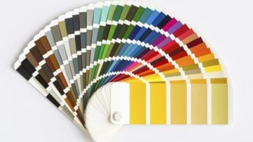 A close look at a color wheel sample of paints.