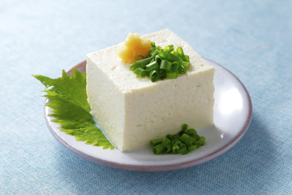 A serving of Japanese cold tofu with garnish.