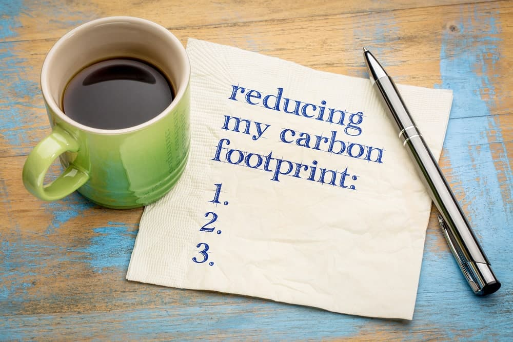 A cup of coffee on the side of a napkin with notes on how to reduce carbon footprint.