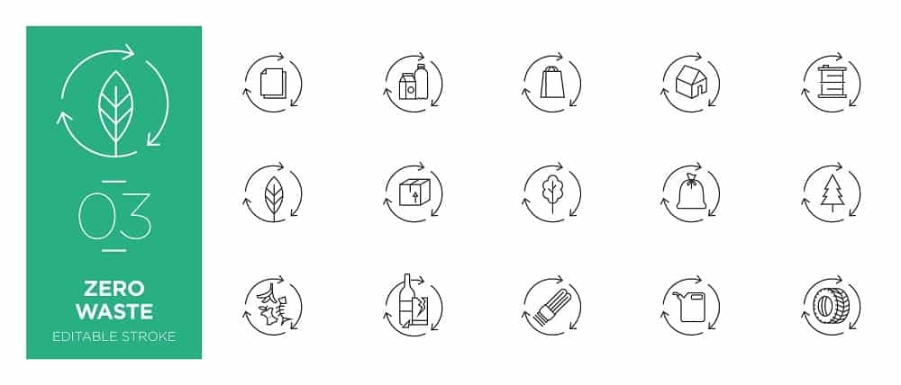 A set of logos and symbols for zero-waste management.