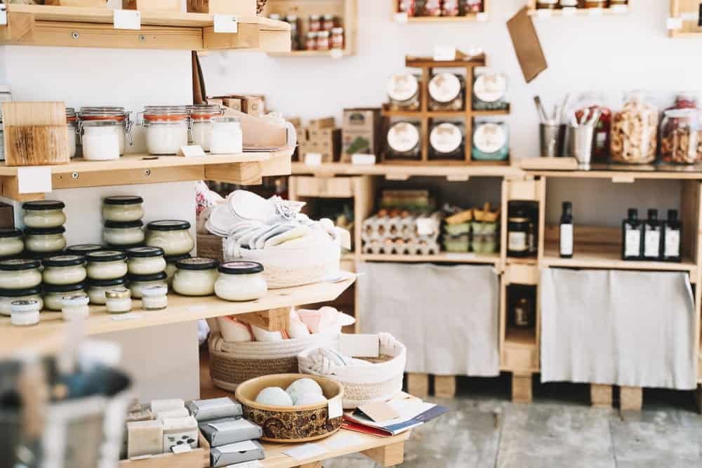 This is a zero-waste store with various products on display.