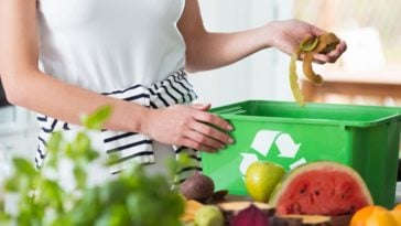 A close look at a woman recycling organic waste from her kitchen.