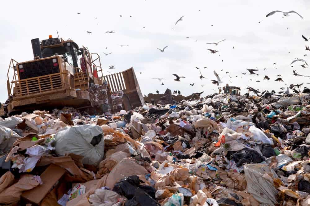 A truck working at a landfill.