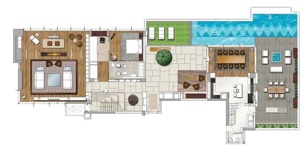 This is a colorful illustrated representation of the floor plan showcasing the various sections of the house.