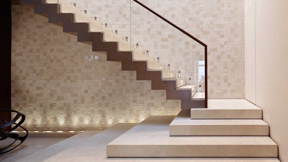 This is the staircase with a unique design and a beige tone that makes it blend with the wall.