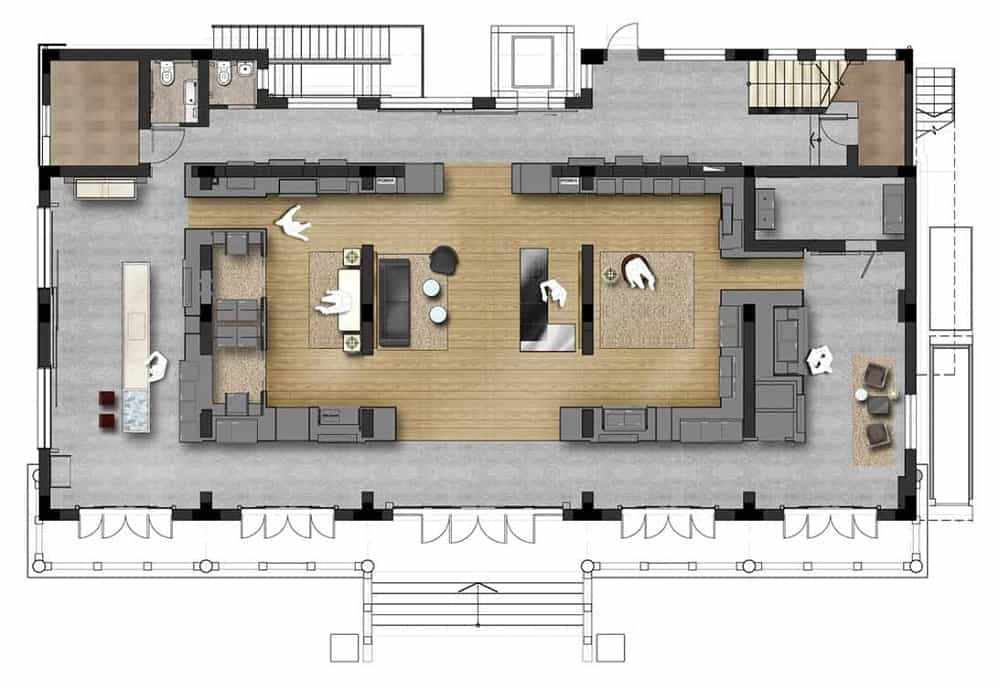 This is an illustrative representation of the unit floor plan showcasing the various sections.