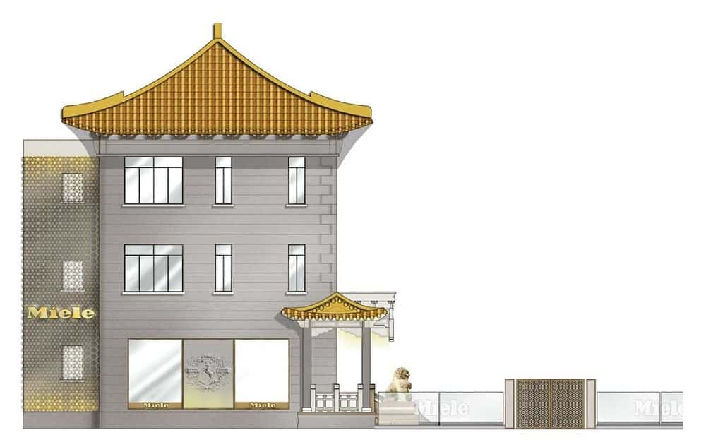This is a colorful illustration depicting the side elevation of the whole building.