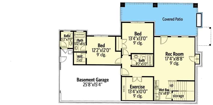 Lower level floor plan with two bedrooms, exercise room, and a recreation room with a wet bar.