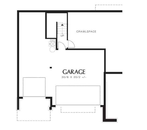 Lower level floor plan with an oversized garage.