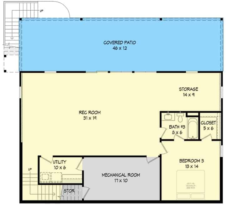 Lower level floor plan with another bedroom, a full bath, and a huge recreation room that extends to the rear patio.