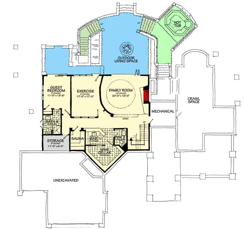 Lower level floor plan with family room, exercise room, sauna, guest bedroom, wine cellar, and a bar.