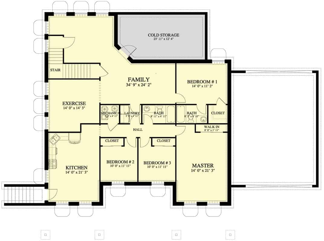 Lower level floor plan with 3-bed apartment, family room, exercise room, and another bedroom.