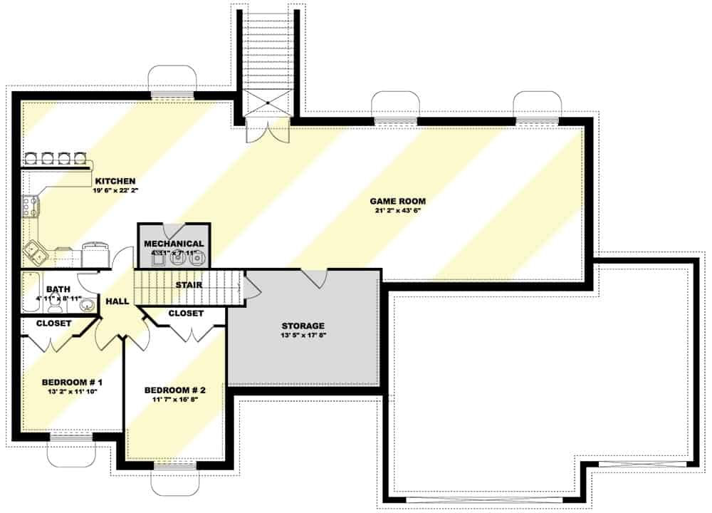 Second level floor plan with two bedrooms, a kitchen, and a massive game room.