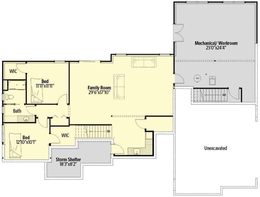 Lower level floor plan with two bedrooms and a large family room that opens to the backyard.