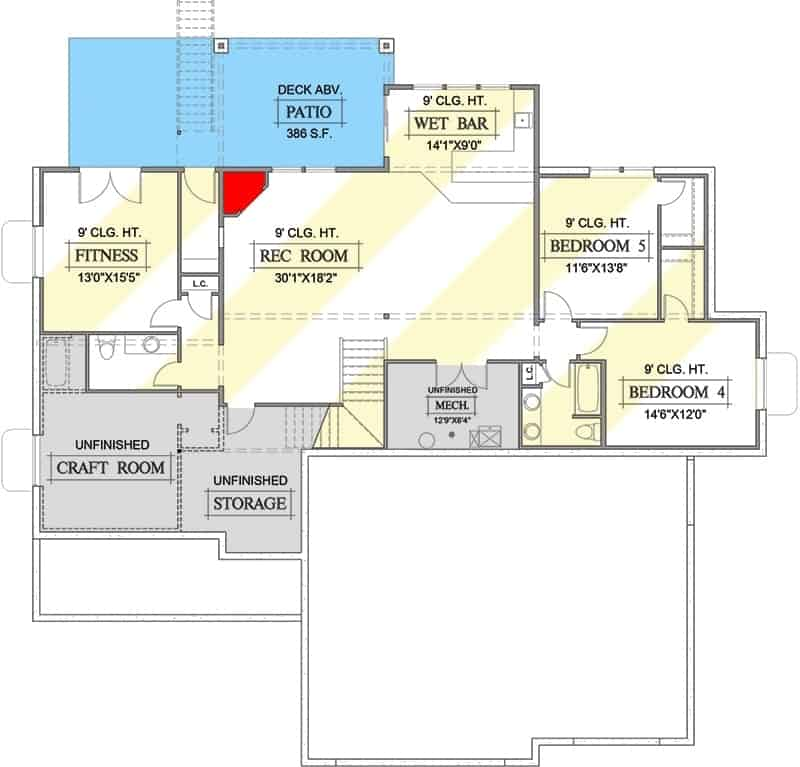 Lower level floor plan with two bedrooms, fitness room, and a recreation room with a wet bar.