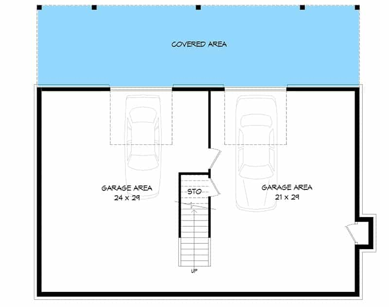 Lower level floor plan with a double garage and a covered area