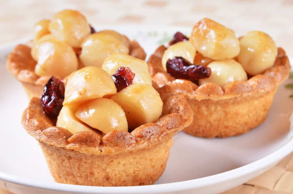 This is a close look at macademia nut tarts.