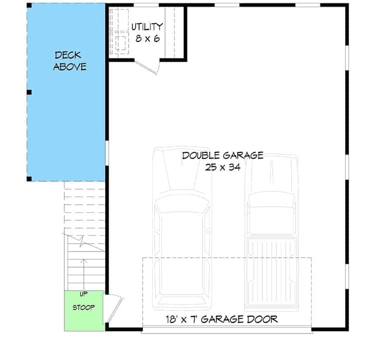 Main level floor plan of a 1-bedroom two-story carriage home with double garage and a utility room.
