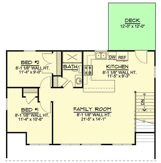 Main level floor plan of a 2-bedroom single-story traditional carriage home with two bedrooms, family room, a full bath, and kitchen that extends to the rear deck.