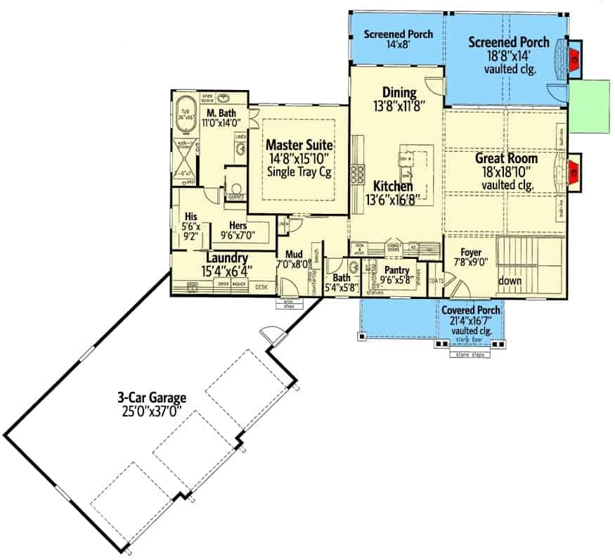Main level floor plan of a 3-bedroom single-story New American home with foyer, great room, dining area, kitchen, primary suite, laundry room, and a spacious screened porch.