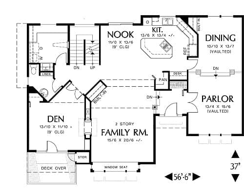 Main level floor plan of a 3-bedroom two-story craftsman style Groton home with family room, kitchen, formal dining room, parlor, and a den with private deck.