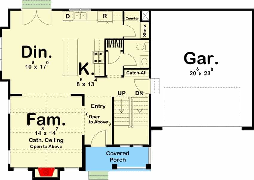 Main level floor plan of a 3-bedroom two-story modern cottage with covered porch, foyer, family room, kitchen, dining area, and a 2-car garage.