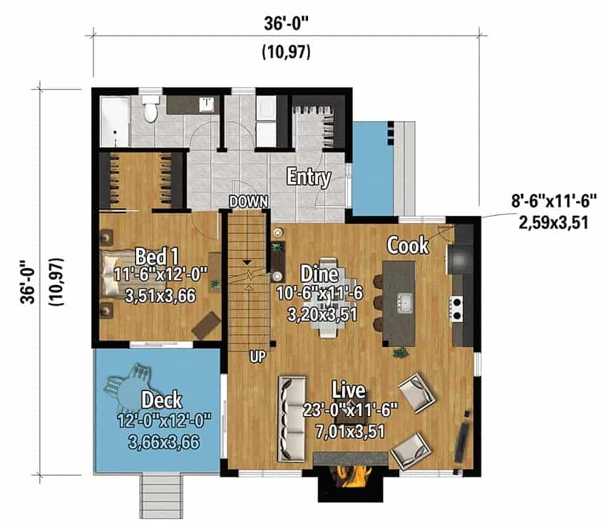 Main level floor plan of a 3-bedroom two-story mountain cottage with foyer, living room, dining area, kitchen, and a bedroom that opens to a deck.