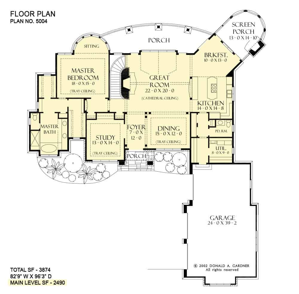 Main level floor plan of a 3-bedroom single-story The Cedar Court European home with front and rear porches, foyer, formal dining room, great room, kitchen with breakfast nook, utility room, screened porch, and a primary suite with a curved sitting area.