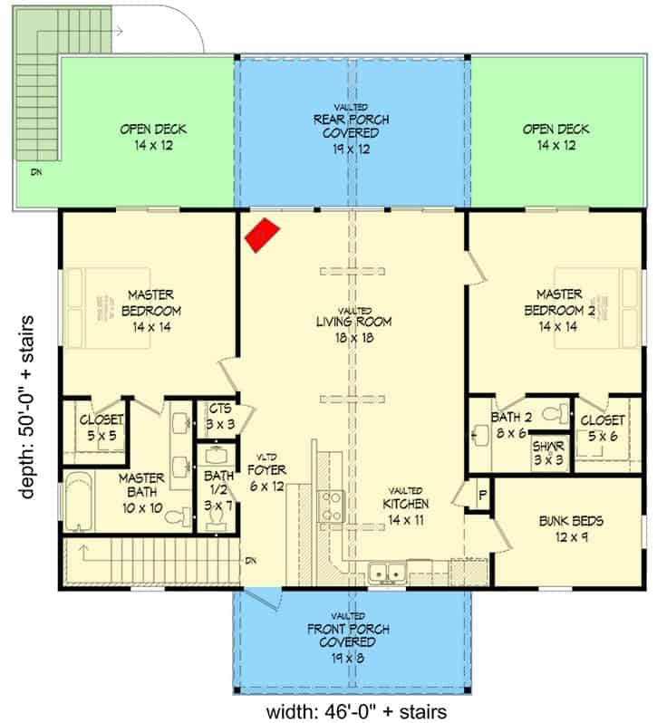 Main level floor plan of a 4-bedroom single-story rustic cottage with front and rear porches, foyer, living room, kitchen, three bedrooms, and open decks.