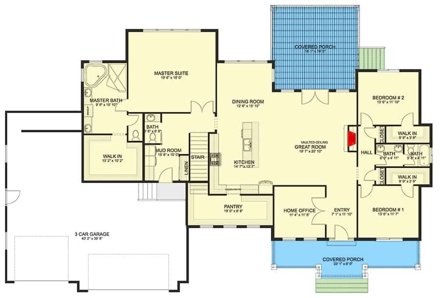 Main level floor plan of a 4-bedroom single-story traditional home with front and rear porches, foyer, great room, kitchen, dining area, home office, and three bedrooms including the primary suite.