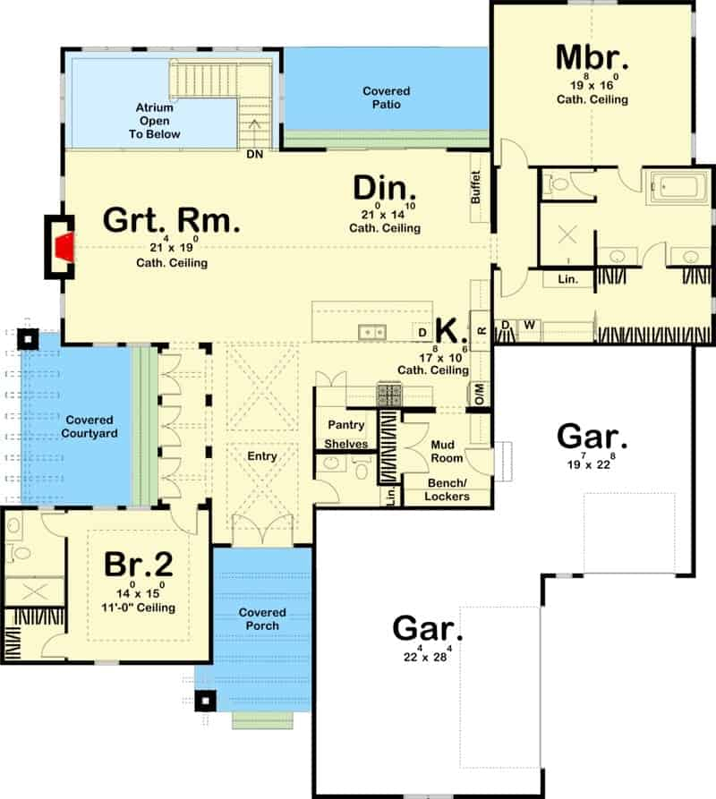 Main level floor plan of a 4-bedroom single-story ultra-modern farmhouse with foyer, great room, kitchen, dining area, two bedrooms, mudroom leading to the garage, and plenty of outdoor spaces.
