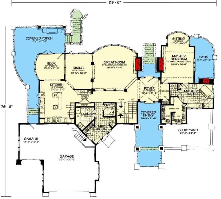 Main level floor plan of a 4-bedroom two-story luxury mountain home with foyer, great room, formal dining room, kitchen with breakfast nook, laundry room, mudroom, primary suite, and plenty of outdoor space.