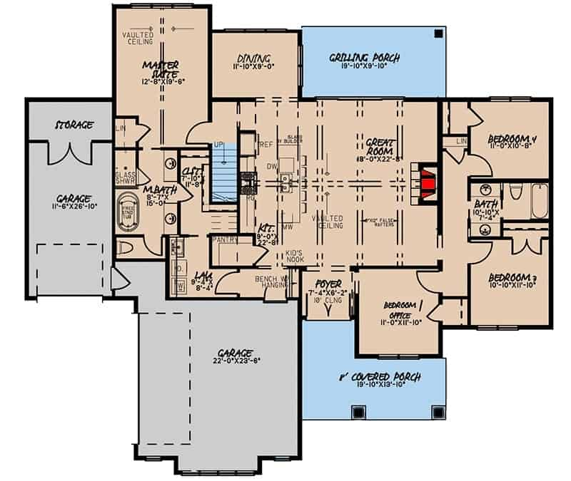 Main level floor plan of a 4-bedroom two-story mountain farmhouse with foyer, great room, kitchen, dining area, three bedrooms, primary suite, grilling porch, and three-car garage.