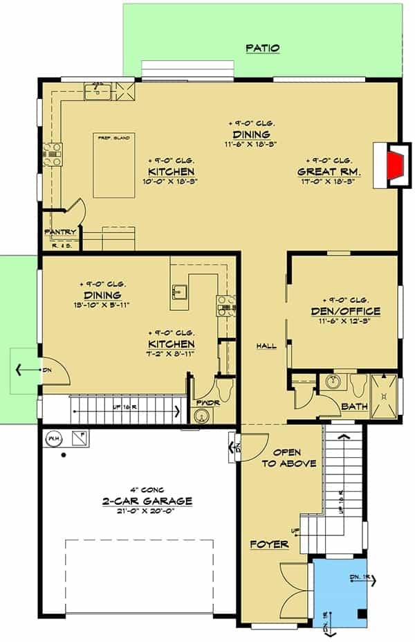 Main level floor plan of a t5-bedroom three-story modern Northwest home with foyer, great room, dining area, kitchen, and a flexible den/office.
