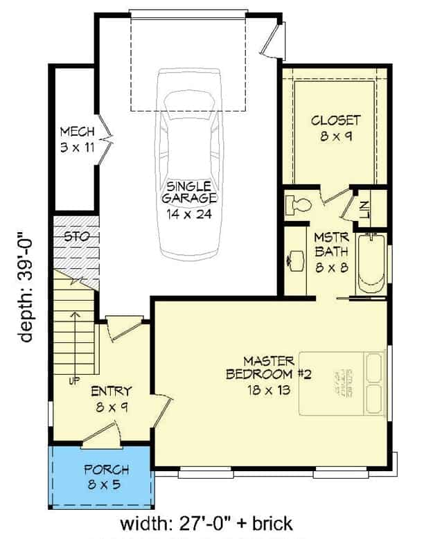 Main level floor plan of a four-story 3-bedroom contemporary home with foyer, primary bedroom 2, and a single garage.