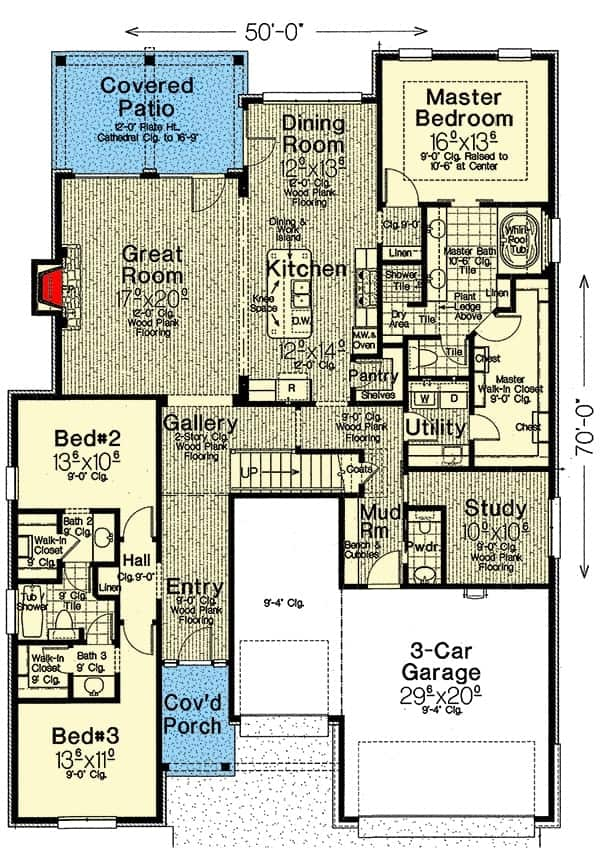 Main level floor plan of a single-story 3-bedroom hill country home with foyer, great room, kitchen, dining area, study, utility room, three bedroons, and a mudroom that leads to the triple garage.