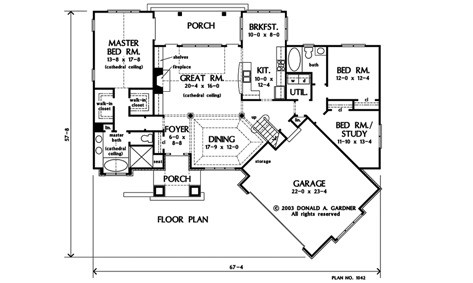 Main level floor plan of a single-story 3-bedroom craftsman style The Gadberry home with front and rear porches, foyer, formal dining room, great room, kitchen with breakfast nook, utility room, three bedrooms, and an angled garage.