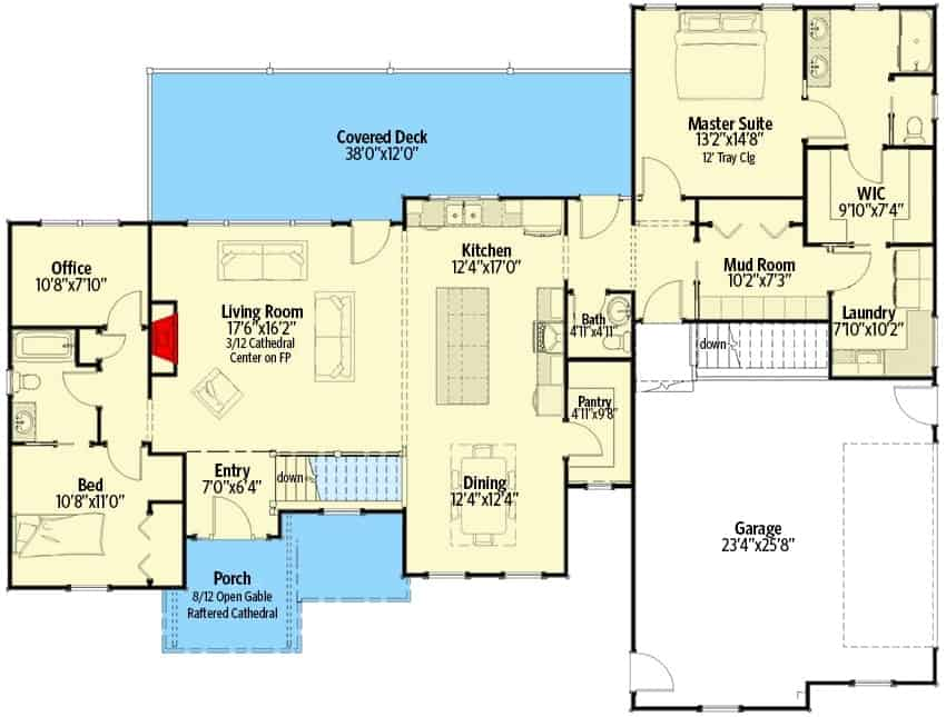 Main level floor plan of a single-story 4-bedroom craftsman home with front and rear porches, foyer, living room, kitchen, dining area, office, mudroom, and two bedrooms including the primary suite.