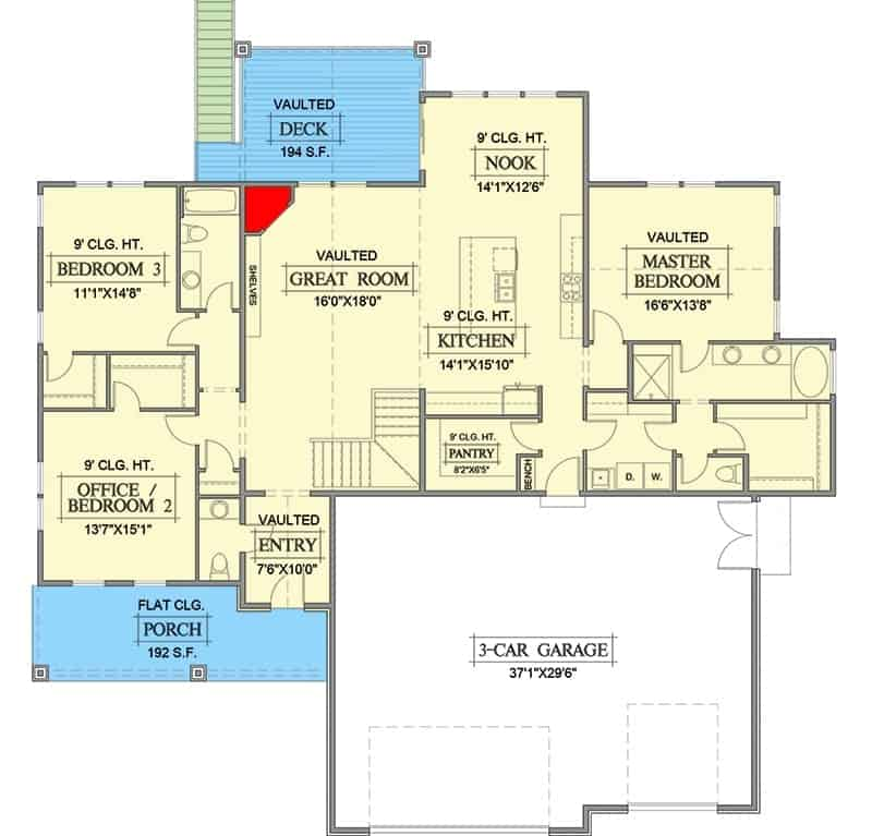Main level floor plan of a single-story 5-bedroom hillside craftsman home with entry porch, foyer, great room, kitchen, breakfast nook, vaulted deck, and three bedrooms including the primary suite and versatile office.